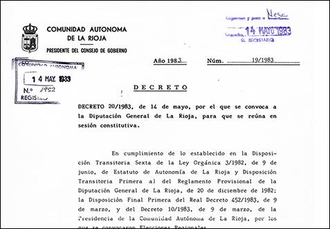 PLR_Sesión constitutiva de la I Legislatura. Portada